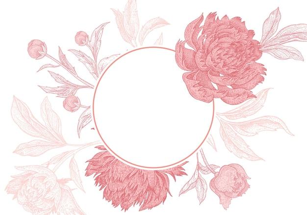 Quadro de peônias florais de casamento Vetor Premium