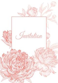 Quadro de peônias florais para convite de casamento