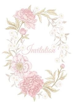 Quadro de peônias florais para convite de casamento Vetor Premium