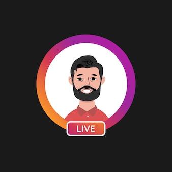 Quadro de perfil de círculo gradiente para transmissão ao vivo em mídia social em um fundo preto