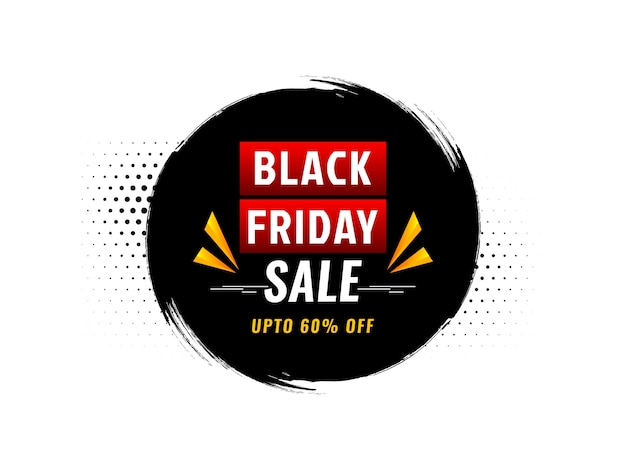Quadro de pincelada circular fundo preto de venda sexta-feira