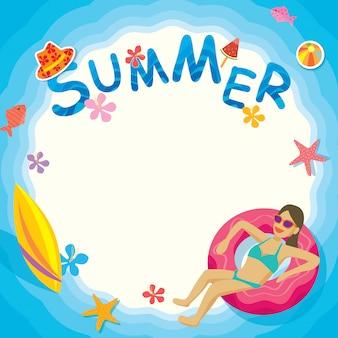 Quadro de piscina de verão