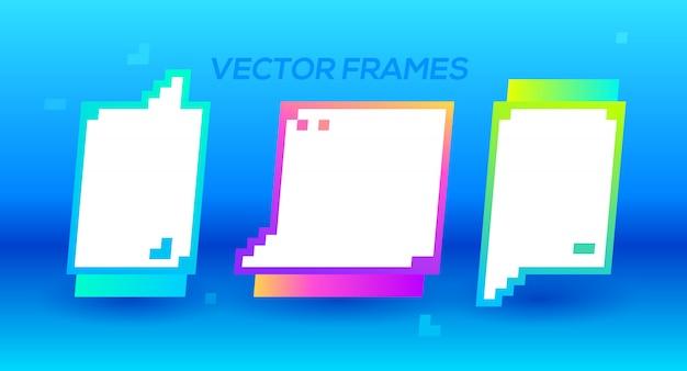 Quadro de pixel. objeto de banner para o seu conceito de design. molduras para fotos.