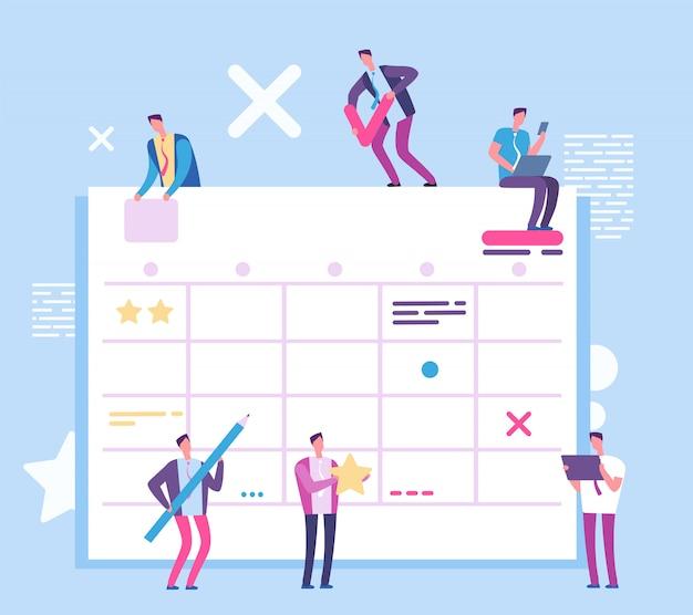 Quadro de planejamento de tarefas. pessoas com placa de processo grande scrum. negócios e resma trabalhando conceito