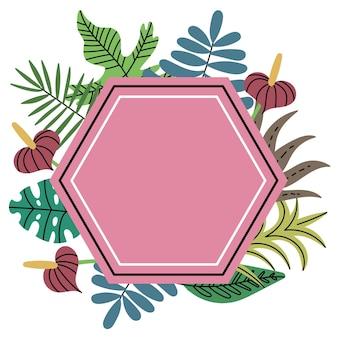 Quadro de plantas tropicais de selva poligonal