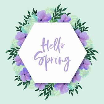 Quadro de primavera aquarela flores desabrochando violeta