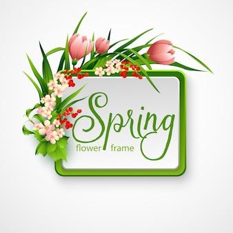 Quadro de primavera com flores. ilustração