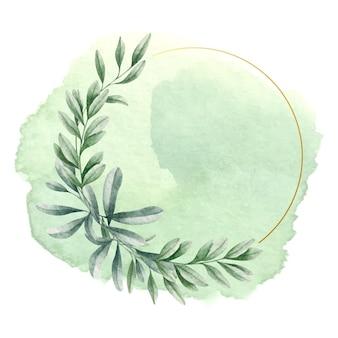 Quadro de primavera com folhas verdes em aquarela