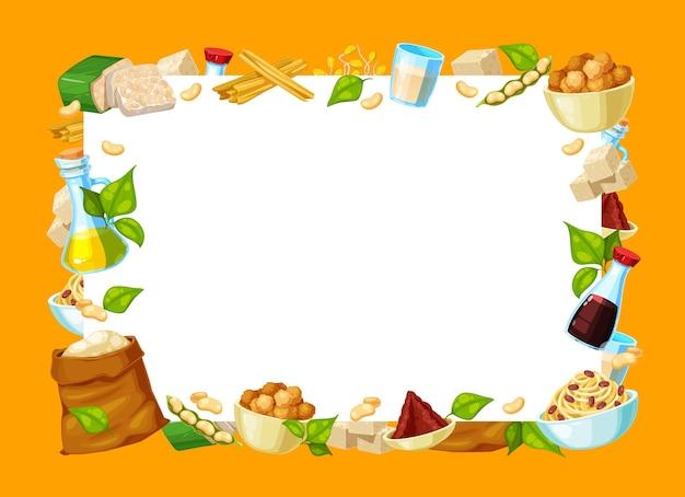 Quadro de produtos alimentares de soja natural