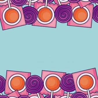 Quadro de quadro de pirulitos doces
