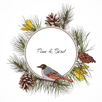 Quadro de ramo de pinheiro de pássaro