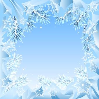 Quadro de ramos de abeto congelados