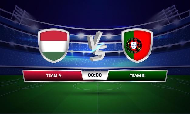 Quadro de resultados da partida completa de futebol da copa do euro na hungria x portugal