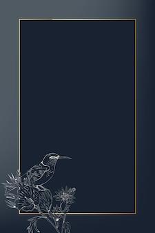 Quadro de retângulo dourado em um fundo azul
