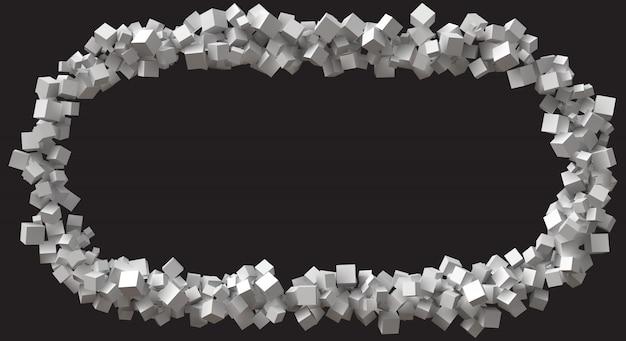 Quadro de retângulo grande formado por cubos de tamanho aleatório