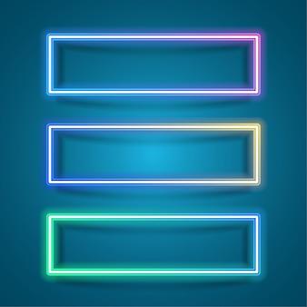 Quadro de retângulo simples para o design do banner. estilo de retângulo neon