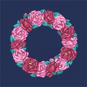 Quadro de rosas em forma de círculo em fundo escuro