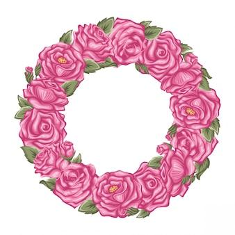 Quadro de rosas rosa vetor em forma de círculo isolado