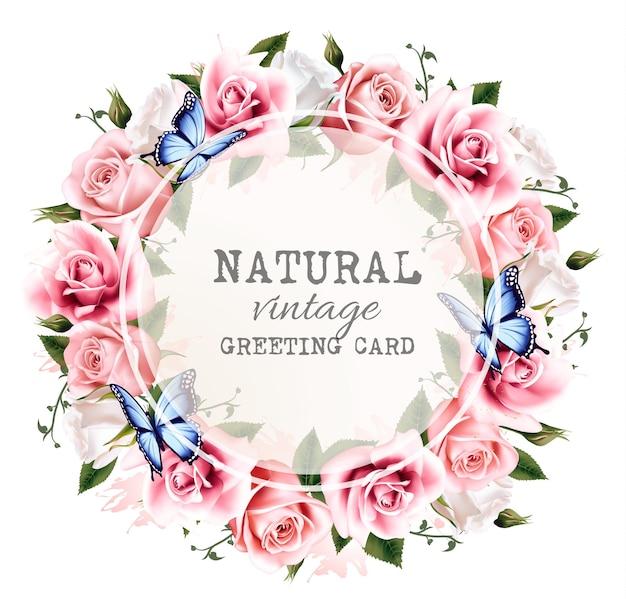 Quadro de saudação vintage natural com rosas. vetor.