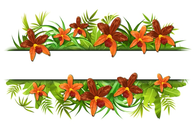 Quadro de selva tropical com orquídeas.