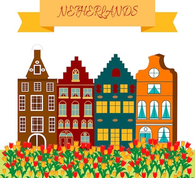 Quadro de símbolos cultural e turístico de viagens holanda com tulipas tamancos de madeira e moinhos de vento