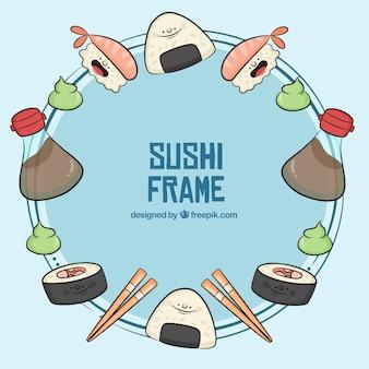 Quadro de sushi desenhado de mão