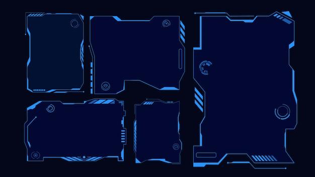 Quadro de techno, interface. grade futurista de hud virtual exibir holograma azul da interface do usuário.