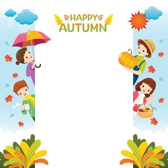 Quadro de temporada outono com crianças felizes