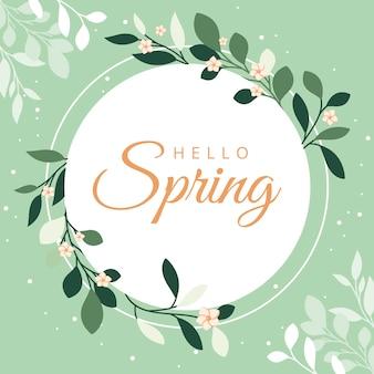 Quadro de temporada primavera com galhos de folhas