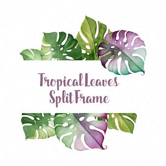 Quadro de texto de folhas tropicais em aquarela