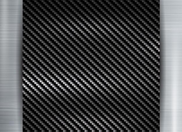 Quadro de textura de kevlar de carbono no fundo de textura de metal