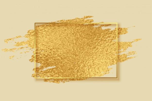 Quadro de traçado de pincel abstrato folha dourada