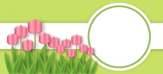 Quadro de tulipas em estilo de corte de papel.