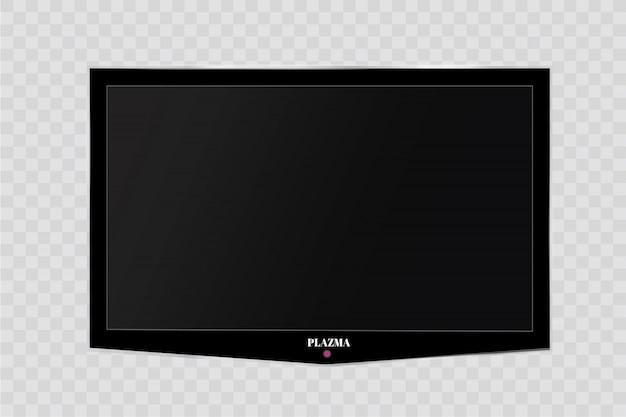 Quadro de tv. monitor led vazio do computador ou moldura preta isolada em um fundo transparente. tela em branco lcd, plasma, painel ou tv para seu projeto