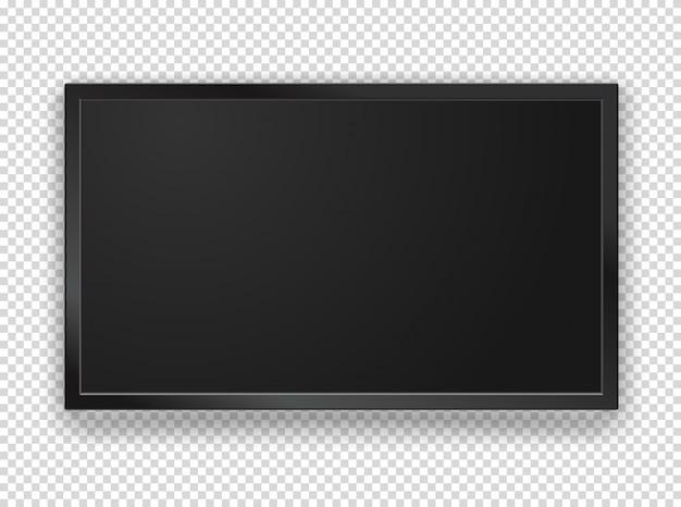 Quadro de tv preto moderno com tela em branco