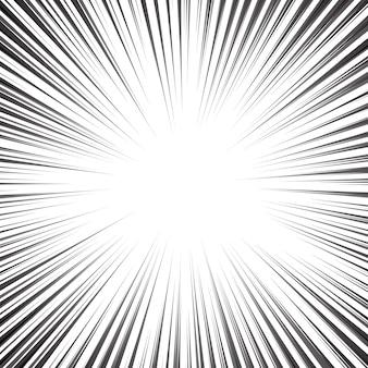 Quadro de velocidade de linhas radiais em preto e branco em quadrinhos.