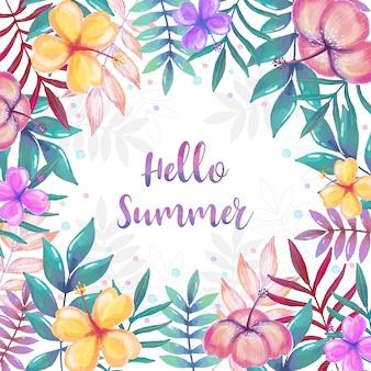 Quadro de verão aquarela com decoração floral