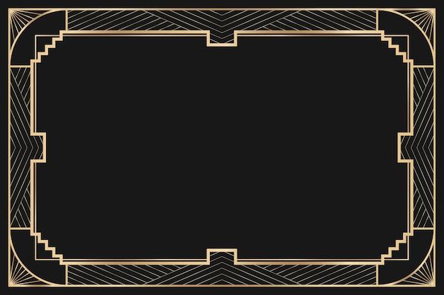 Quadro de vetor art déco com padrão geométrico em fundo escuro