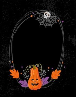Quadro de vetor assustador de halloween. decoração desenhada à mão com abóbora, caveira e teia de aranha