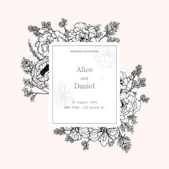 Quadro de vetor com flores, ervas e elementos botânicos na mão desenhada estilo
