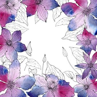 Quadro de vetor com lindas flores clematis