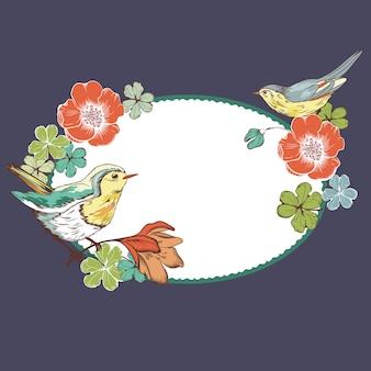 Quadro de vetor com pássaros e flores