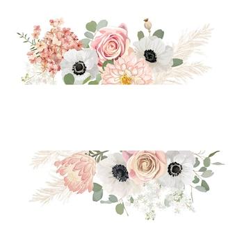 Quadro de vetor de casamento floral em aquarela. grama de pampa, anêmona, modelo de borda de flores rosa para cerimônia de casamento. cartão de convite mínimo de primavera, banner decorativo de verão boho