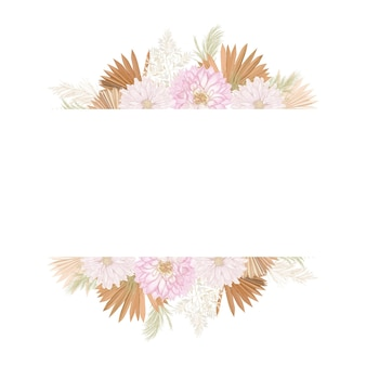 Quadro de vetor de casamento floral em aquarela. grama de pampa, flores de dália, folhas de palmeira secas, modelo de borda para cerimônia de casamento, cartão de convite mínimo, banner decorativo de verão boho