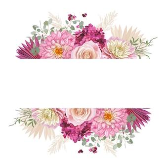 Quadro de vetor de casamento floral em aquarela. grama de pampas, rosa, design de luxo de flores dália, folhas de palmeira secas modelo de borda para cerimônia de casamento, cartão de convite rústico, banner decorativo de verão boho