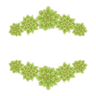 Quadro de vetor de echeveria suculenta silhueta desenhada à mão na borda de suculentas de plantas em estilo simples