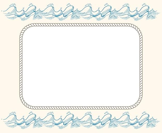 Quadro de vetor náutico com cordas e ondas azuis
