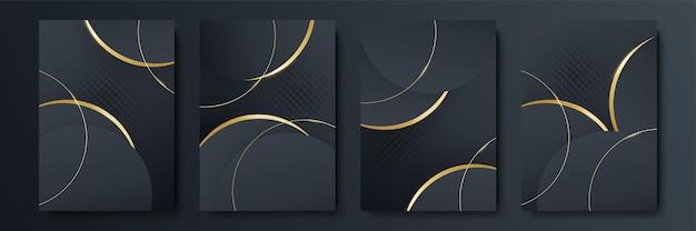 Quadro de vetor para gráficos de arte moderna de texto para descolados. fundo preto geométrico elegante do quadro dinâmico com ouro. elemento para design de cartões de visita, convites, cartões-presente, folhetos e brochuras