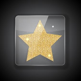 Quadro de vidro com a estrela dourada brilhante.