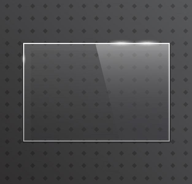 Quadro de vidro de vetor. bandeira de vidro